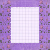 Abstract floral background. Vintage purple textile. Writing-book