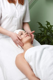 beauty salon series. facial massage poster
