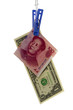 Chinese renminbi pegged to the US dollar isolated on white