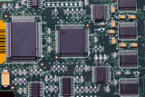 Close-up on a microchip on a scheme background  poster