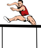 Track and field athlete jumping hurdles poster