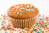 tasty muffin with colorful sprinkles, isolated poster