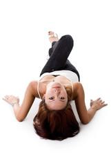 elegance woman lying on the floor