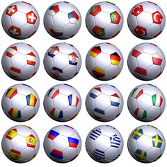 16 balls of all European teams in the EM championship 2008