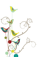 colorful summer bird and swirls (vector) - illustration