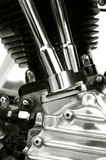 chromed motorcycle engine close-up