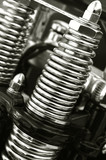 chromed motorcycle suspension springs close-up