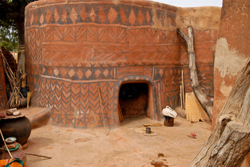 Wall with african tribal painting