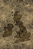 Parchment great britain map poster