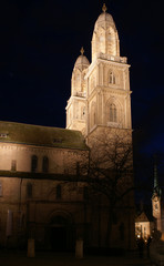 Grossmuenster cathedral in Zurich night