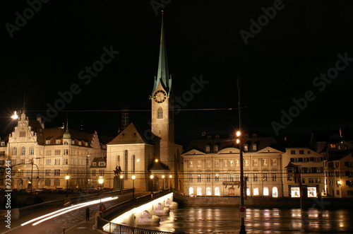 Fraumuenster and Limmat river in Zurich night