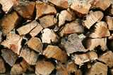 firewood stocked and piled in pattern poster