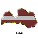 Latvia metal pin badge poster