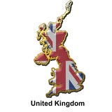 United Kingdom metal pin badge poster