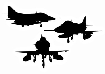 US military aircraft silhouettes
