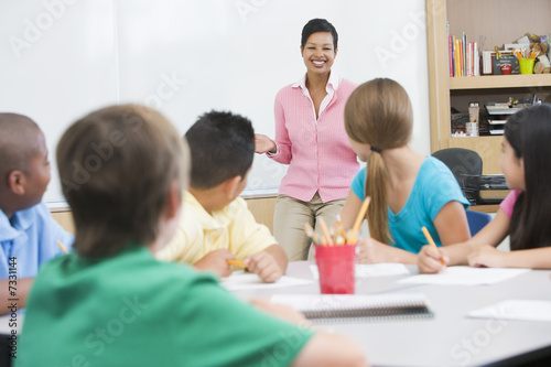 Elementary school classroom with teacher