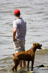 Men and dog