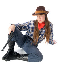 Cowgirl with gun sitting and glares down upon all with the utmos