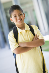 Elementary school pupil outside