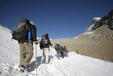 mountaineers trekking to top of thorong-la, annapurna, nepal poster