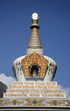 stupa on blue sky, annapurna, nepal poster