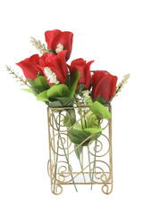 Red Roses in Wire Holder