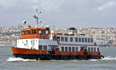 Ferryboat on the Tagus in Lisbon Portugal