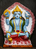 Shiva moulding in temple on annapurna, nepal poster
