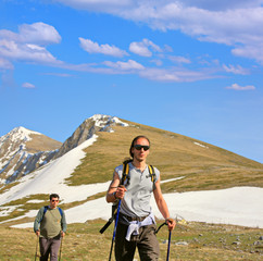 Backpackers on a mountain in Macedonia