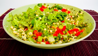 a close-up of fresh green sald with mungo