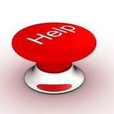 button with an inscription the help on a white background.  poster
