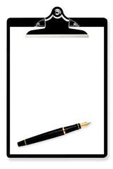 Blank Clipboard with Fountain Pen