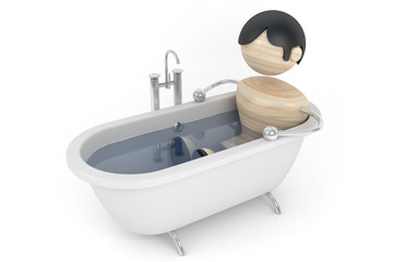 Man relax in the bath, spa