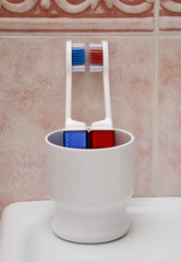 Two tooth brushes in the plastic cup