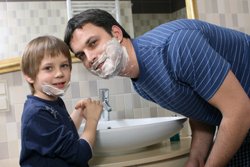 Father and son shaving