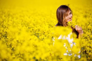 In field of flowers