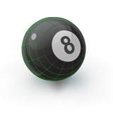 Glossy Eight Ball with Geometry Lines poster