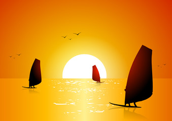 Windsurf at sunset