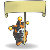 Little Jester Man Character holding a blank sign poster