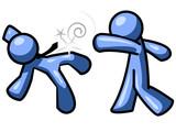 Blue Man Punching Someone poster