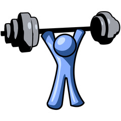 Blue Man Lifting Weights