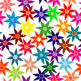 Vivid, colorful, repeating flower background on white poster