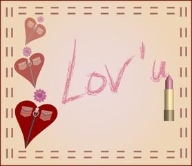 barra de labios con mensaje y corazones
