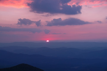 Sunset over the Allegheny Mountains