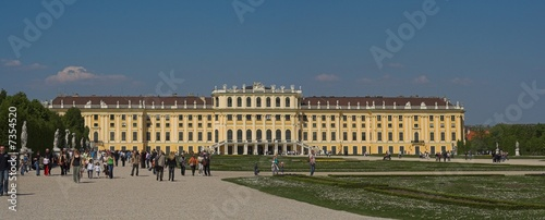 Palace in  Vienna with turists