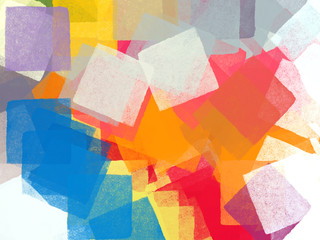 Abstract colorful brushed squares impressionist illustration