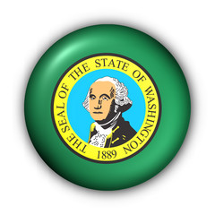 Round Button USA State Flag of Washington