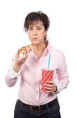 Casual woman eating pizza