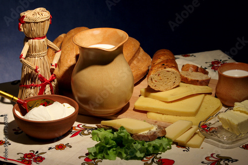 poster of dairy products - cheese, milk, butter, sour cream