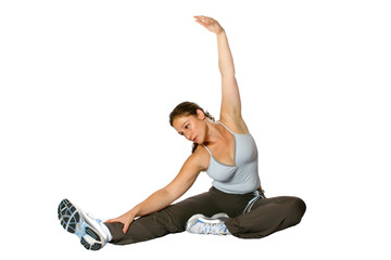 trainer doing stretching calf and back of thigh muscle